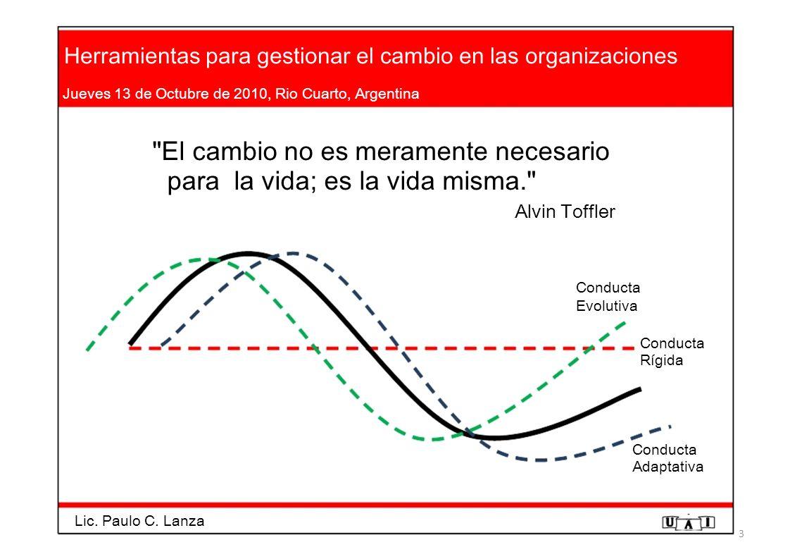 Herramientas para gestionar el cambio en las organizaciones Jueves 13 de Octubre de 2010, Rio Cuarto, Argentina