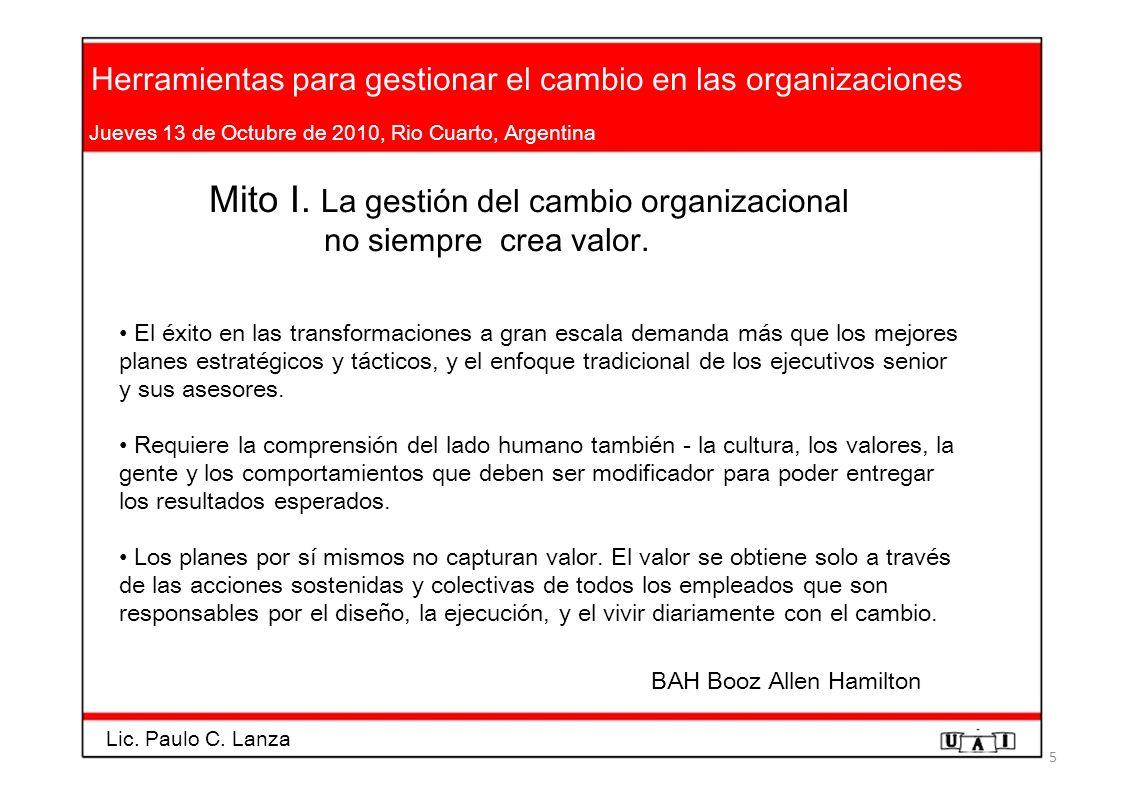 Herramientas para gestionar el cambio en las organizaciones Jueves 13 de Octubre de 2010, Rio Cuarto, Argentina Mito I. La gestión del cambio organiza