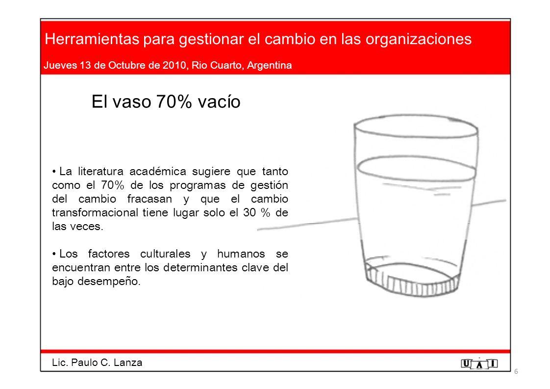 Herramientas para gestionar el cambio en las organizaciones Jueves 13 de Octubre de 2010, Rio Cuarto, Argentina El vaso 70% vacío La literatura académ