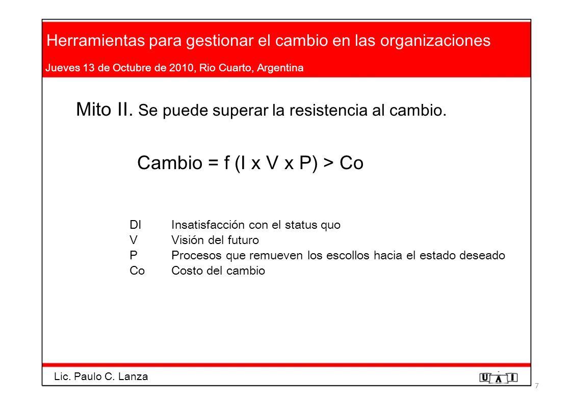 Herramientas para gestionar el cambio en las organizaciones Jueves 13 de Octubre de 2010, Rio Cuarto, Argentina Mito II. Se puede superar la resistenc