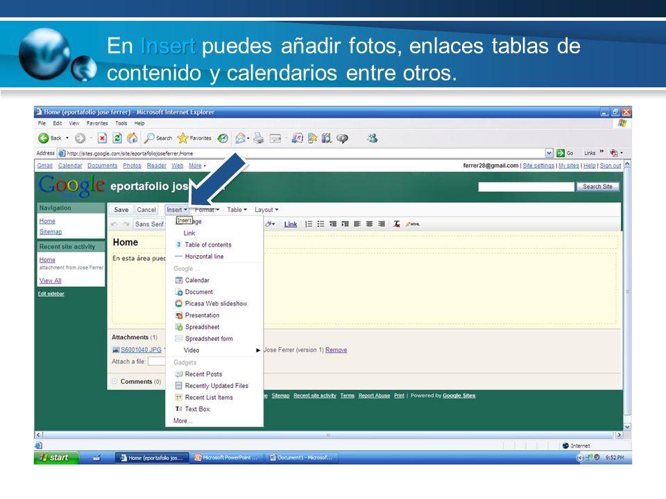 Insert En Insert puedes añadir fotos, enlaces tablas de contenido y calendarios entre otros.