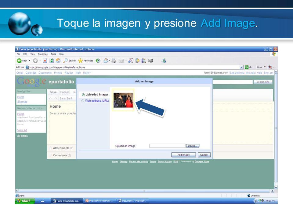 Add Image Toque la imagen y presione Add Image.
