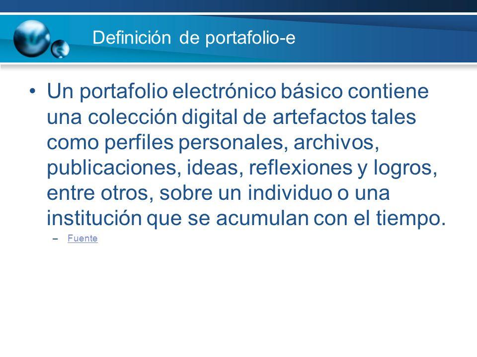 Definición de portafolio-e Un portafolio electrónico básico contiene una colección digital de artefactos tales como perfiles personales, archivos, pub