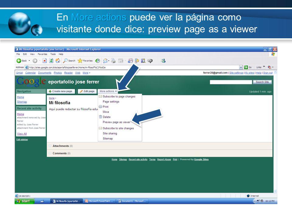 More actions En More actions puede ver la página como visitante donde dice: preview page as a viewer