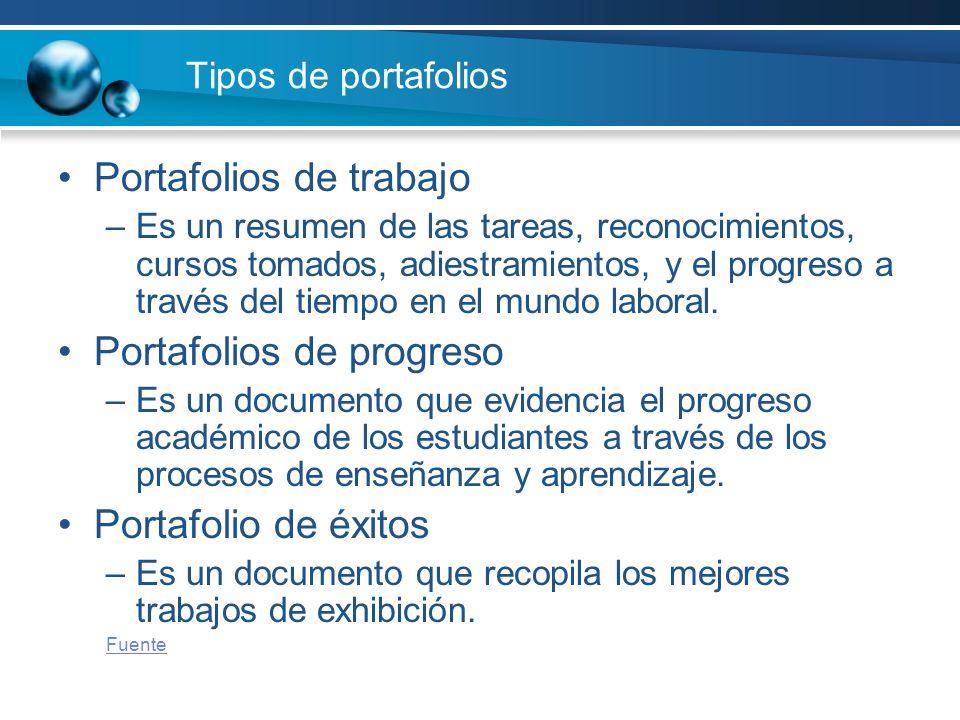 Tipos de portafolios Portafolios de trabajo –Es un resumen de las tareas, reconocimientos, cursos tomados, adiestramientos, y el progreso a través del