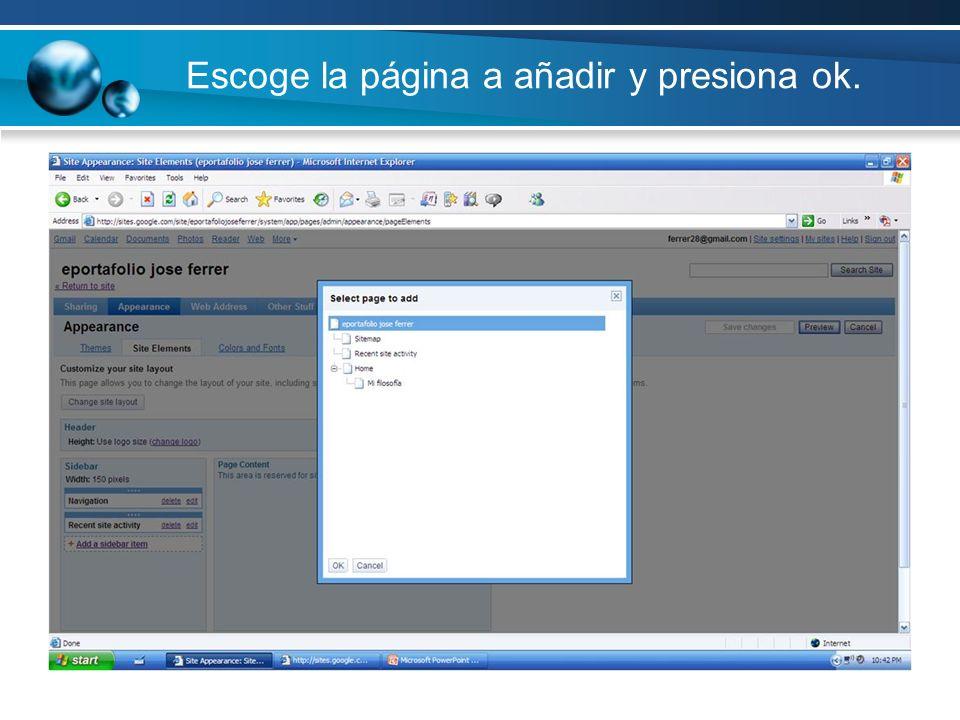 Escoge la página a añadir y presiona ok.