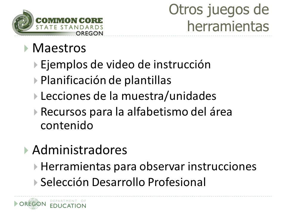 Otros juegos de herramientas Maestros Ejemplos de video de instrucción Planificación de plantillas Lecciones de la muestra/unidades Recursos para la a