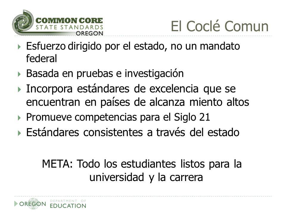 El Coclé Comun Esfuerzo dirigido por el estado, no un mandato federal Basada en pruebas e investigación Incorpora estándares de excelencia que se encu