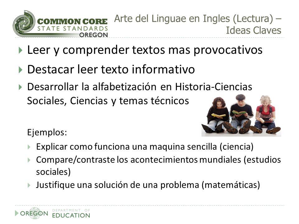 Arte del Linguae en Ingles (Lectura) – Ideas Claves Leer y comprender textos mas provocativos Destacar leer texto informativo Desarrollar la alfabetiz