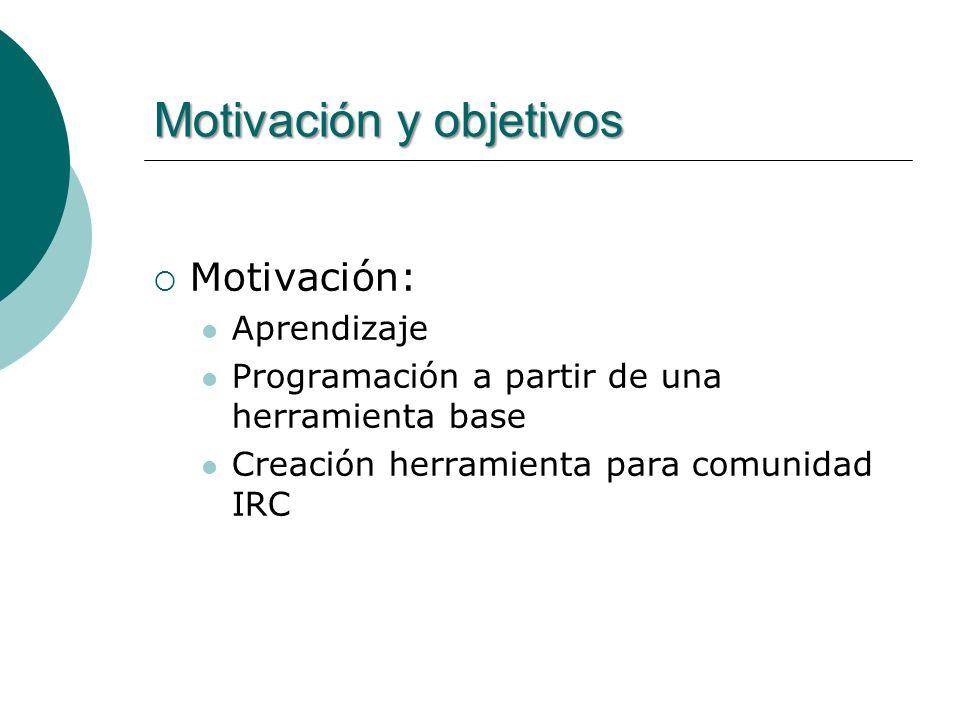Motivación y objetivos Motivación: Aprendizaje Programación a partir de una herramienta base Creación herramienta para comunidad IRC