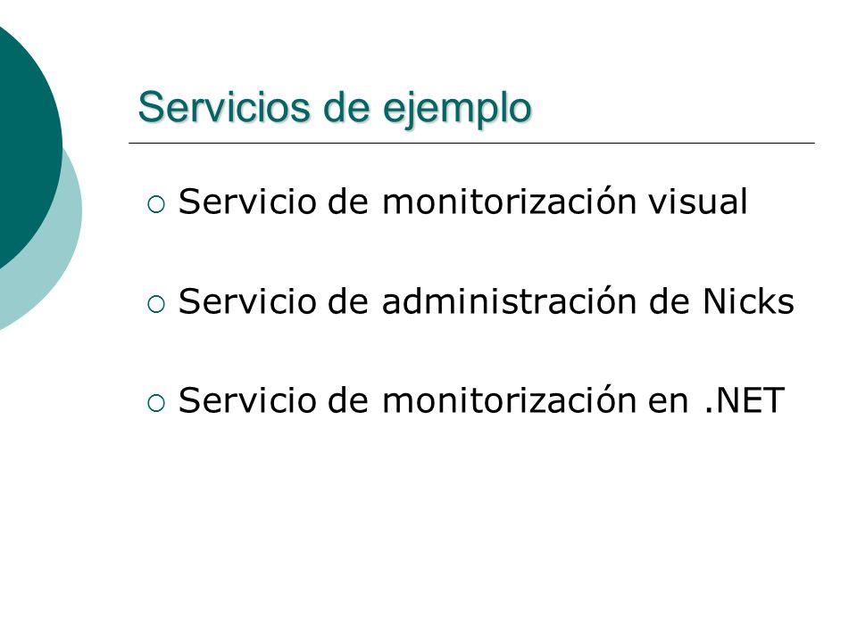 Servicios de ejemplo Servicio de monitorización visual Servicio de administración de Nicks Servicio de monitorización en.NET