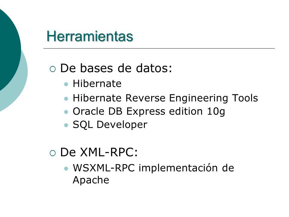Herramientas De bases de datos: Hibernate Hibernate Reverse Engineering Tools Oracle DB Express edition 10g SQL Developer De XML-RPC: WSXML-RPC implementación de Apache