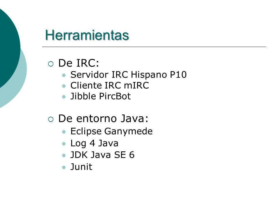 Herramientas De IRC: Servidor IRC Hispano P10 Cliente IRC mIRC Jibble PircBot De entorno Java: Eclipse Ganymede Log 4 Java JDK Java SE 6 Junit