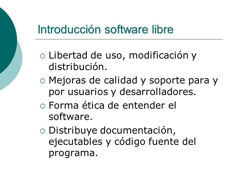 Introducción software libre Libertad de uso, modificación y distribución.