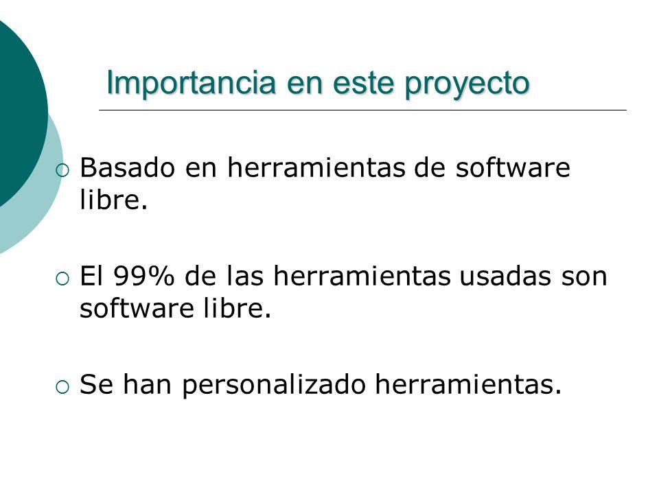 Importancia en este proyecto Basado en herramientas de software libre.