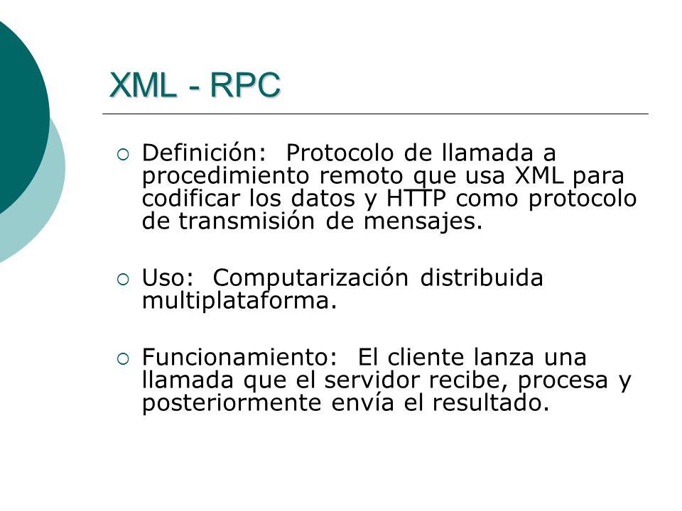 XML - RPC Definición: Protocolo de llamada a procedimiento remoto que usa XML para codificar los datos y HTTP como protocolo de transmisión de mensajes.
