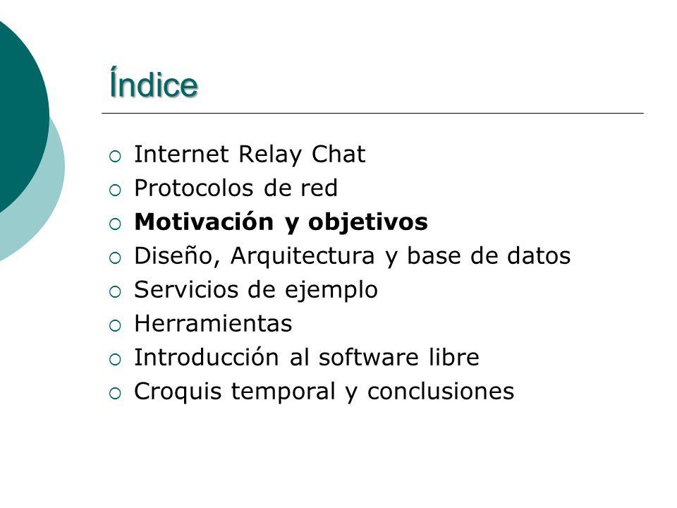 Índice Internet Relay Chat Protocolos de red Motivación y objetivos Diseño, Arquitectura y base de datos Servicios de ejemplo Herramientas Introducción al software libre Croquis temporal y conclusiones