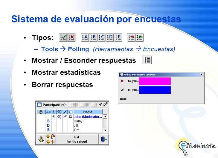 Sistema de evaluación por encuestas Tipos: –Tools Polling (Herramientas Encuestas) Mostrar / Esconder respuestas Mostrar estadísticas Borrar respuestas