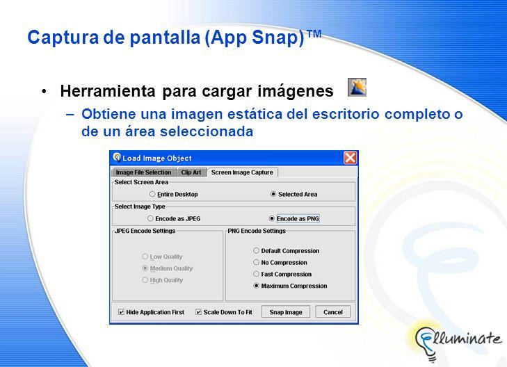 Captura de pantalla (App Snap) Herramienta para cargar imágenes –Obtiene una imagen estática del escritorio completo o de un área seleccionada