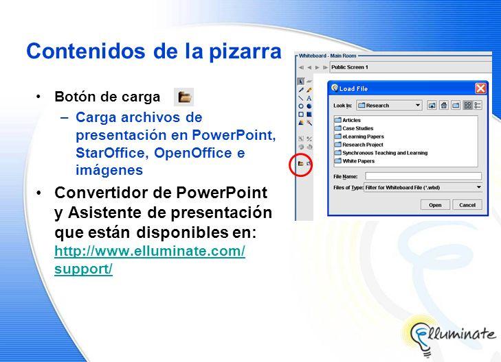Contenidos de la pizarra Botón de carga –Carga archivos de presentación en PowerPoint, StarOffice, OpenOffice e imágenes Convertidor de PowerPoint y Asistente de presentación que están disponibles en: http://www.elluminate.com/ support/ http://www.elluminate.com/ support/
