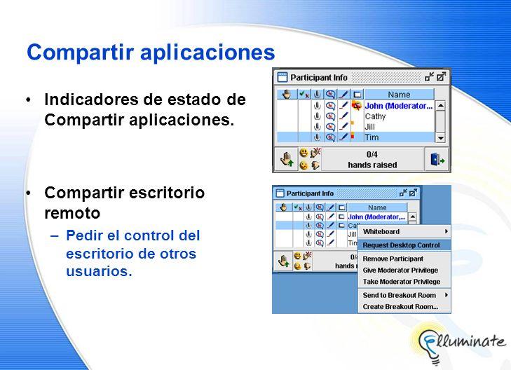 Compartir aplicaciones Indicadores de estado de Compartir aplicaciones. Compartir escritorio remoto –Pedir el control del escritorio de otros usuarios