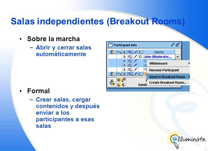 Salas independientes (Breakout Rooms) Sobre la marcha –Abrir y cerrar salas automáticamente Formal –Crear salas, cargar contenidos y después enviar a los participantes a esas salas