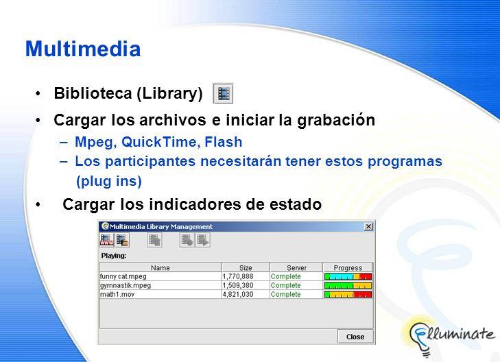 Multimedia Biblioteca (Library) Cargar los archivos e iniciar la grabación –Mpeg, QuickTime, Flash –Los participantes necesitarán tener estos programas (plug ins) Cargar los indicadores de estado