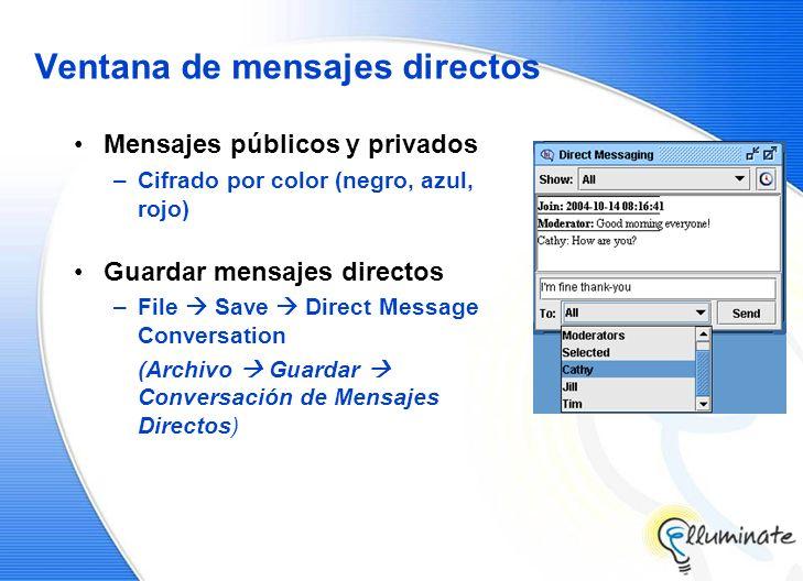 Ventana de mensajes directos Mensajes públicos y privados –Cifrado por color (negro, azul, rojo) Guardar mensajes directos –File Save Direct Message Conversation (Archivo Guardar Conversación de Mensajes Directos)