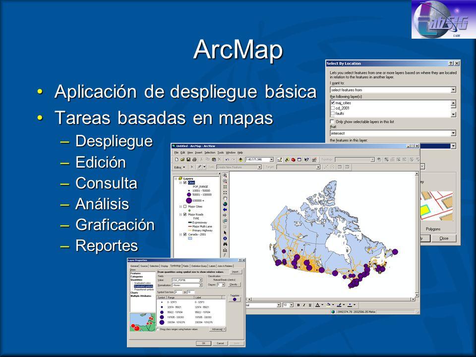 ArcMap Aplicación de despliegue básicaAplicación de despliegue básica Tareas basadas en mapasTareas basadas en mapas –Despliegue –Edición –Consulta –A
