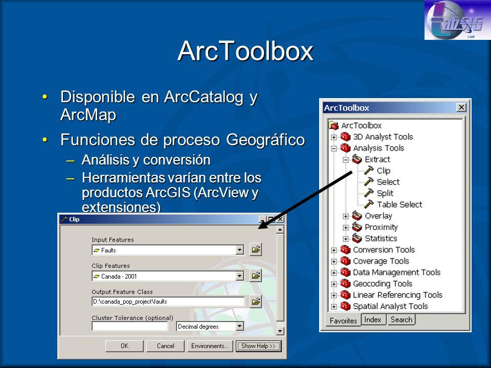 ArcToolbox Disponible en ArcCatalog y ArcMapDisponible en ArcCatalog y ArcMap Funciones de proceso GeográficoFunciones de proceso Geográfico –Análisis