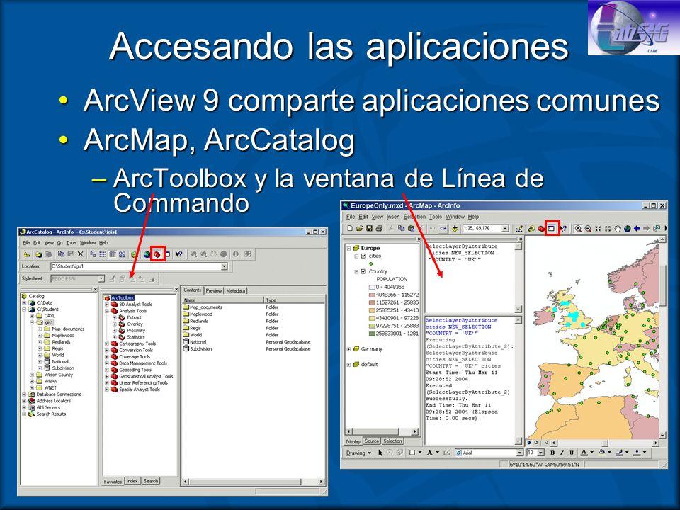 Accesando las aplicaciones ArcView 9 comparte aplicaciones comunesArcView 9 comparte aplicaciones comunes ArcMap, ArcCatalogArcMap, ArcCatalog –ArcToo