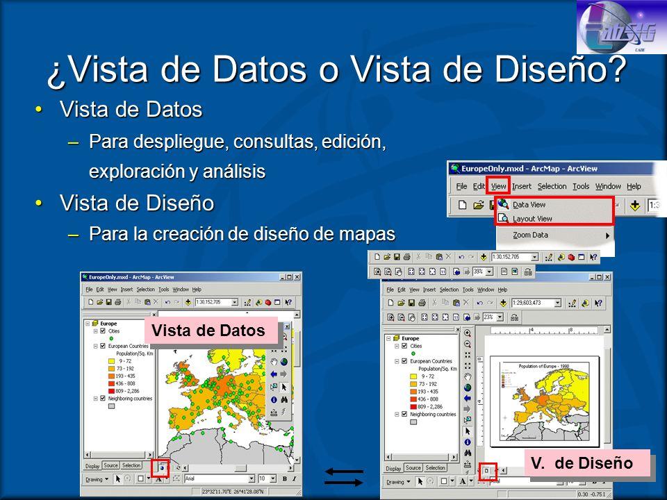 ¿Vista de Datos o Vista de Diseño? Vista de DatosVista de Datos –Para despliegue, consultas, edición, exploración y análisis exploración y análisis Vi