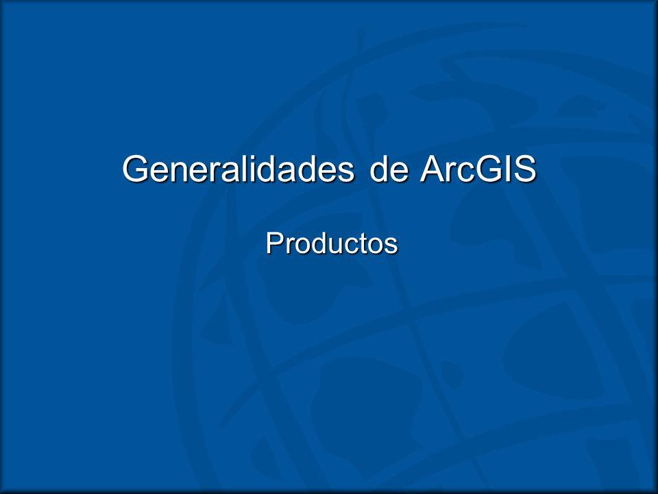 ArcToolbox Disponible en ArcCatalog y ArcMapDisponible en ArcCatalog y ArcMap Funciones de proceso GeográficoFunciones de proceso Geográfico –Análisis y conversión –Herramientas varían entre los productos ArcGIS (ArcView y extensiones)
