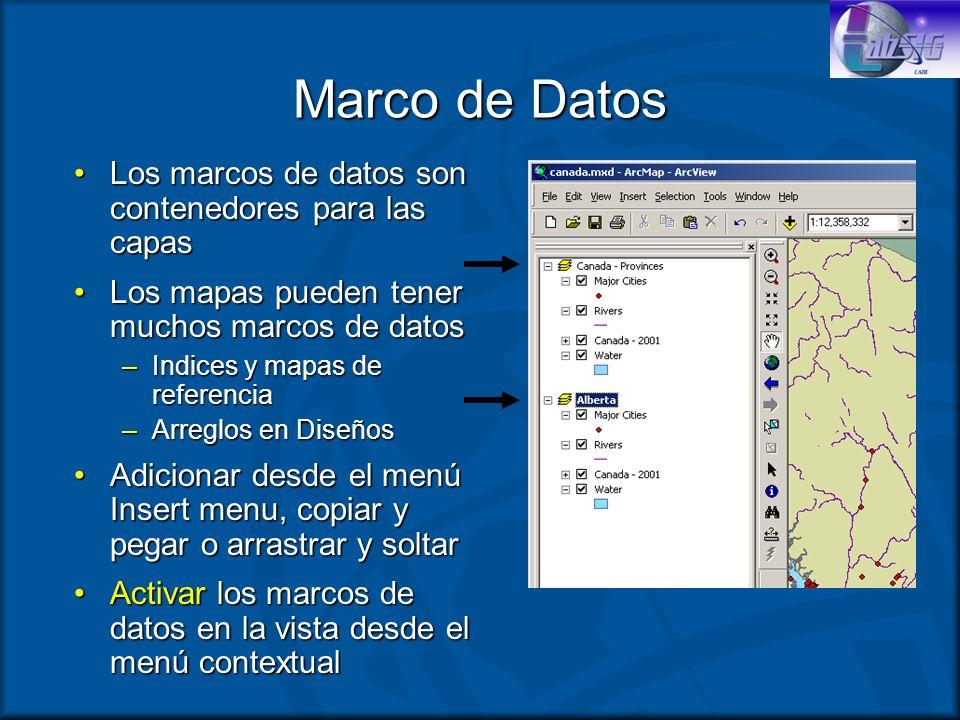 Marco de Datos Los marcos de datos son contenedores para las capasLos marcos de datos son contenedores para las capas Los mapas pueden tener muchos ma