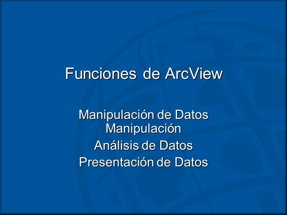 Funciones de ArcView Manipulación de Datos Manipulación Análisis de Datos Presentación de Datos