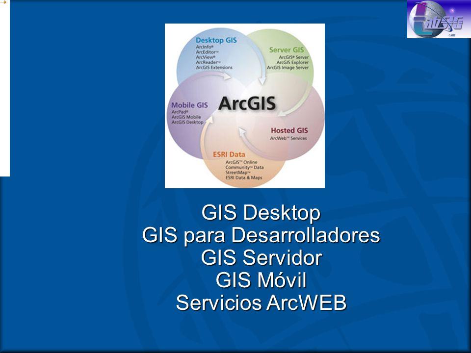Accesando las aplicaciones ArcView 9 comparte aplicaciones comunesArcView 9 comparte aplicaciones comunes ArcMap, ArcCatalogArcMap, ArcCatalog –ArcToolbox y la ventana de Línea de Commando