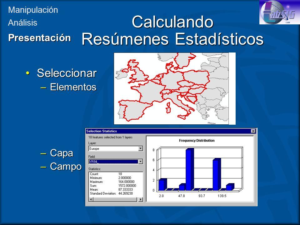 Calculando Resúmenes Estadísticos SeleccionarSeleccionar –Elementos –Capa –Campo Manipulación AnálisisPresentación