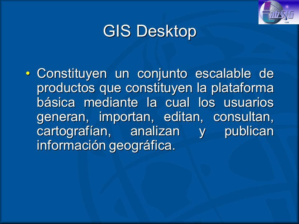 GIS Desktop Constituyen un conjunto escalable de productos que constituyen la plataforma básica mediante la cual los usuarios generan, importan, edita