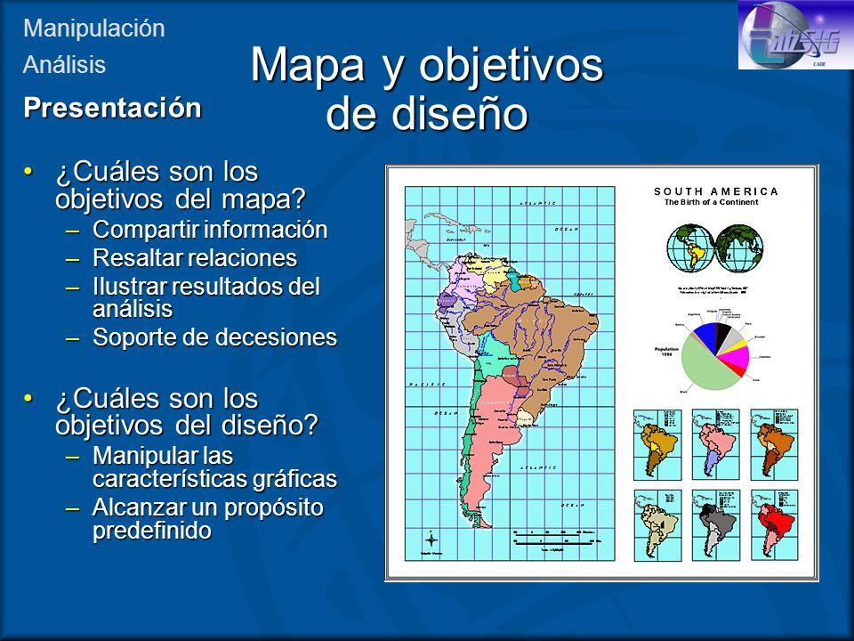 Mapa y objetivos de diseño ¿Cuáles son los objetivos del mapa?¿Cuáles son los objetivos del mapa? –Compartir información –Resaltar relaciones –Ilustra
