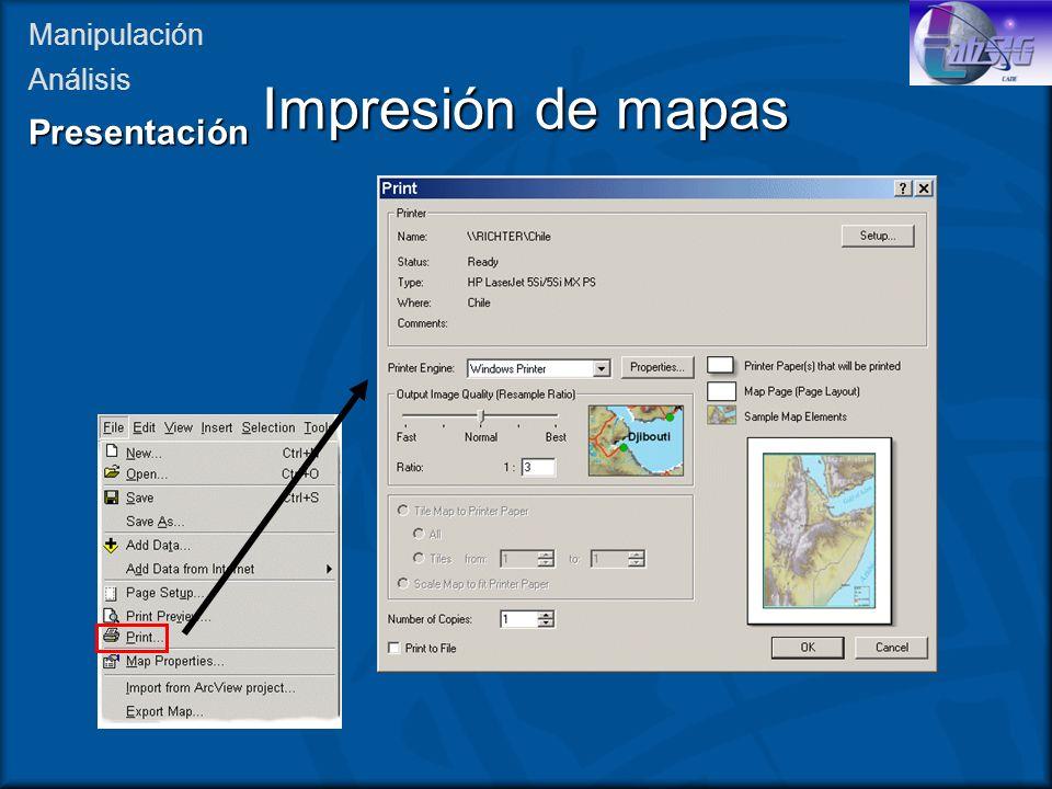 Impresión de mapas Manipulación AnálisisPresentación