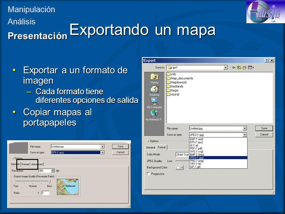 Exportar a un formato de imagenExportar a un formato de imagen –Cada formato tiene diferentes opciones de salida Copiar mapas al portapapelesCopiar ma