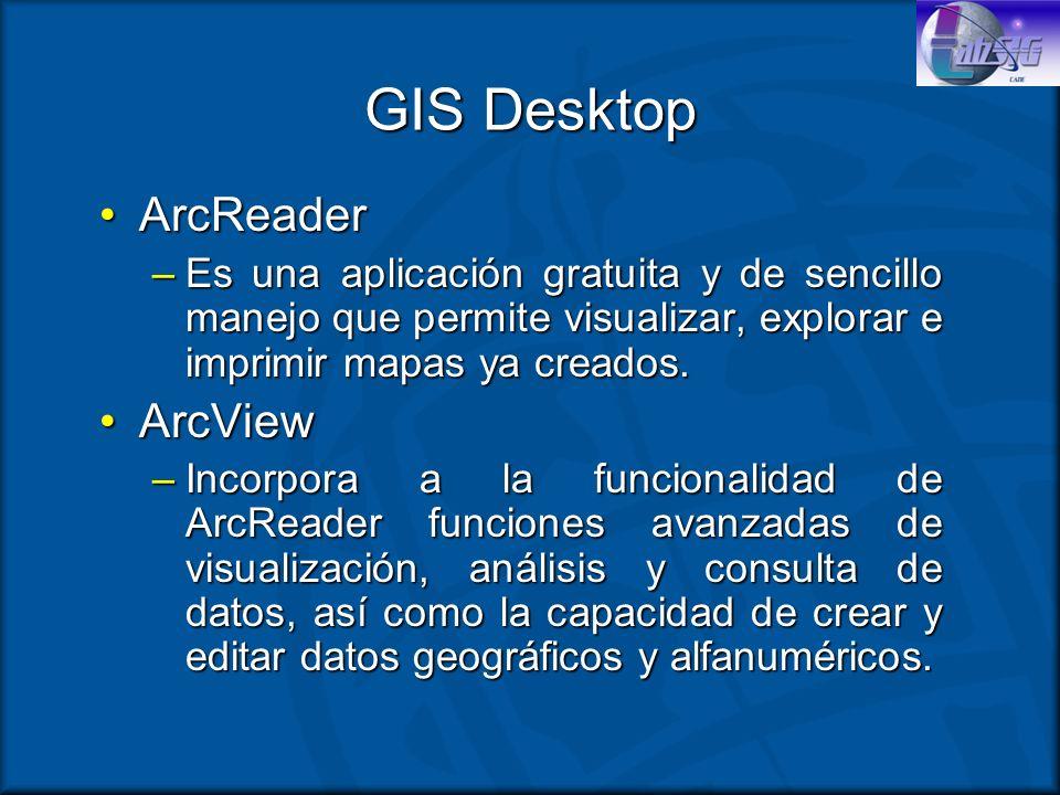 GIS Desktop ArcReaderArcReader –Es una aplicación gratuita y de sencillo manejo que permite visualizar, explorar e imprimir mapas ya creados. ArcViewA
