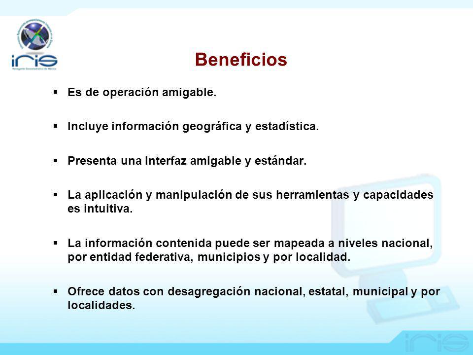 Es de operación amigable.Incluye información geográfica y estadística.