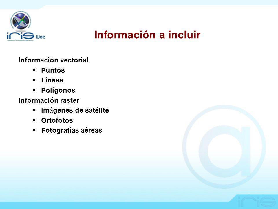 IRIS Información a incluir Información vectorial.