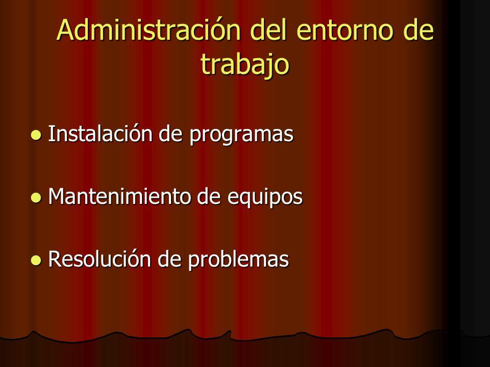 Administración del entorno de trabajo Instalación de programas Instalación de programas Mantenimiento de equipos Mantenimiento de equipos Resolución de problemas Resolución de problemas