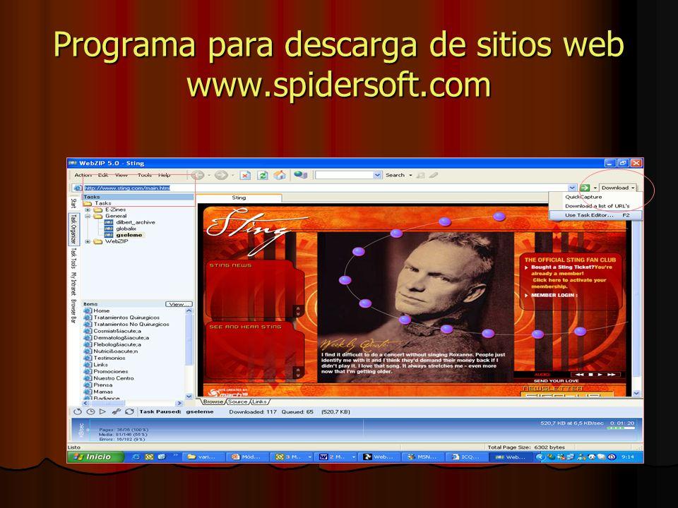 Programa para descarga de sitios web www.spidersoft.com