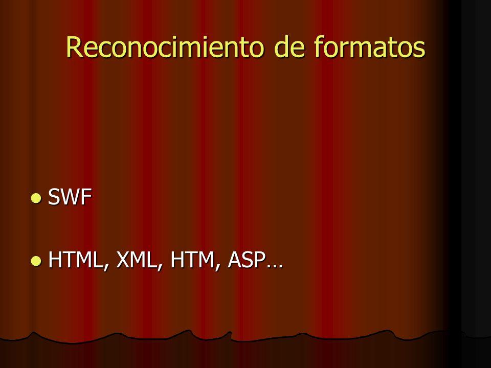 Reconocimiento de formatos SWF SWF HTML, XML, HTM, ASP… HTML, XML, HTM, ASP…