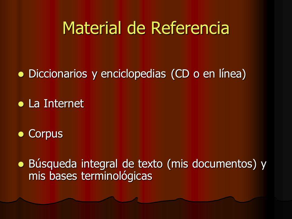 Material de Referencia Diccionarios y enciclopedias (CD o en línea) Diccionarios y enciclopedias (CD o en línea) La Internet La Internet Corpus Corpus