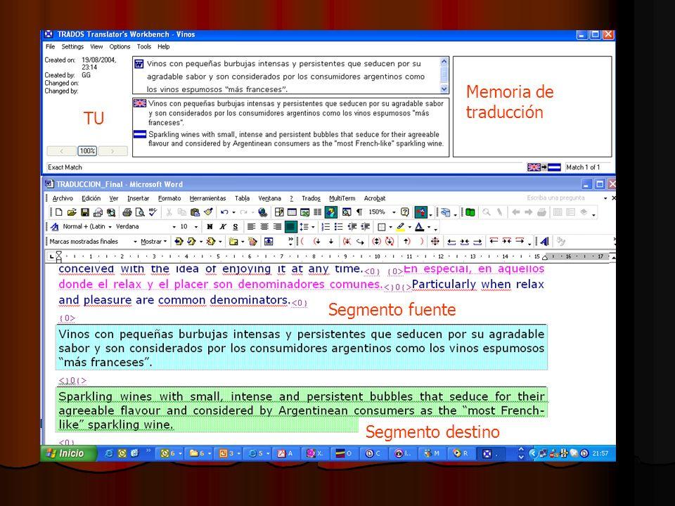 Memoria de traducción TU Segmento fuente Segmento destino