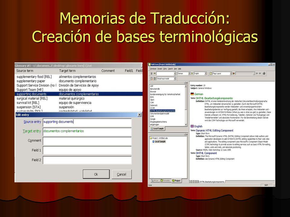 Memorias de Traducción: Creación de bases terminológicas